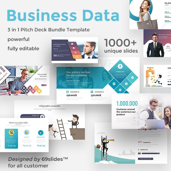 Business Data 3 in 1 Pitch Deck Bundle Google Slide Template