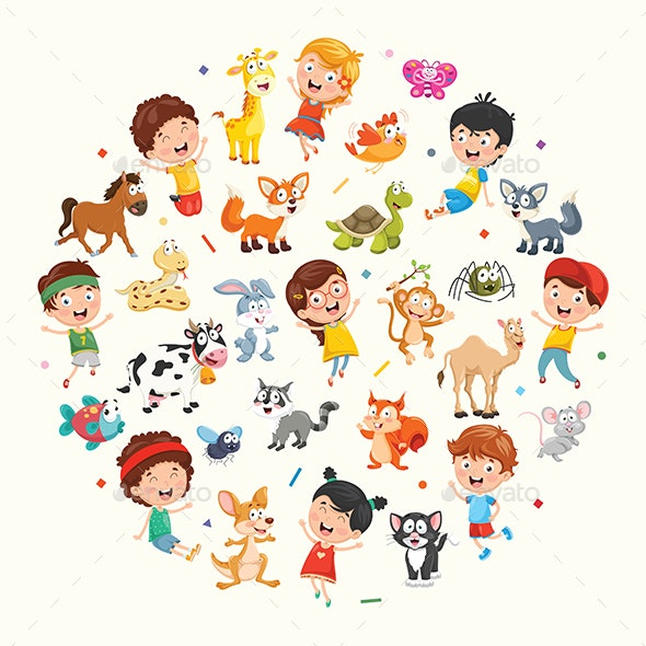 Vector Collection of Kids and Animals Illustration - People Characters