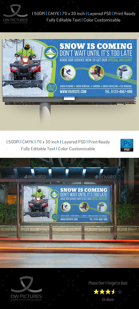 Snow Removal Service Billboard Template - Signage Print Templates