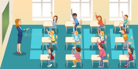 Pupils Raising Their Hands During Class - Miscellaneous Vectors