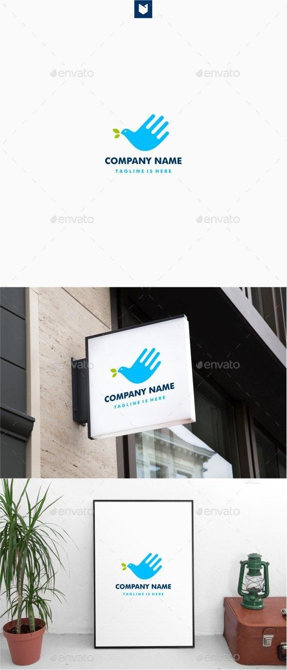 Hand Bird Leaf Logo - Animals Logo Templates