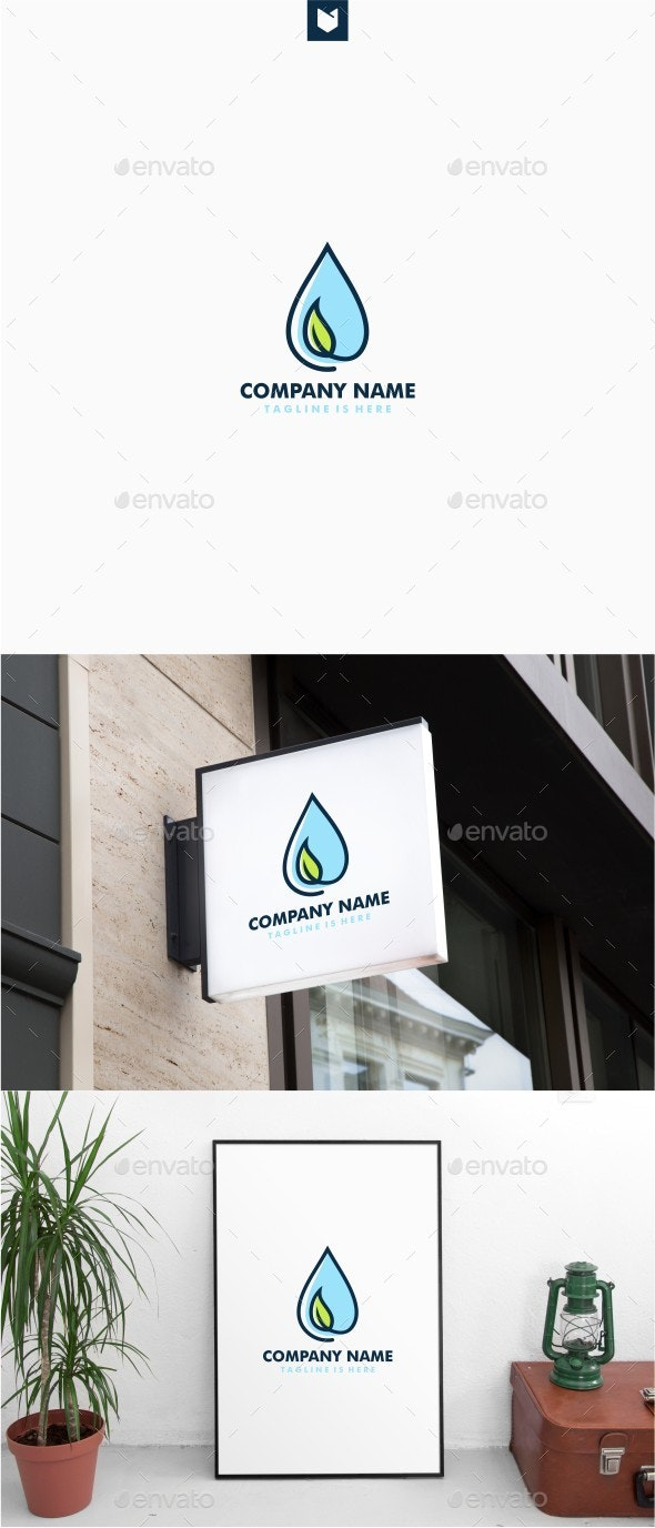 Leaf Water Drop Logo - Nature Logo Templates