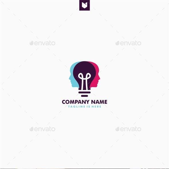 Human Head Bulb Lamp Logo