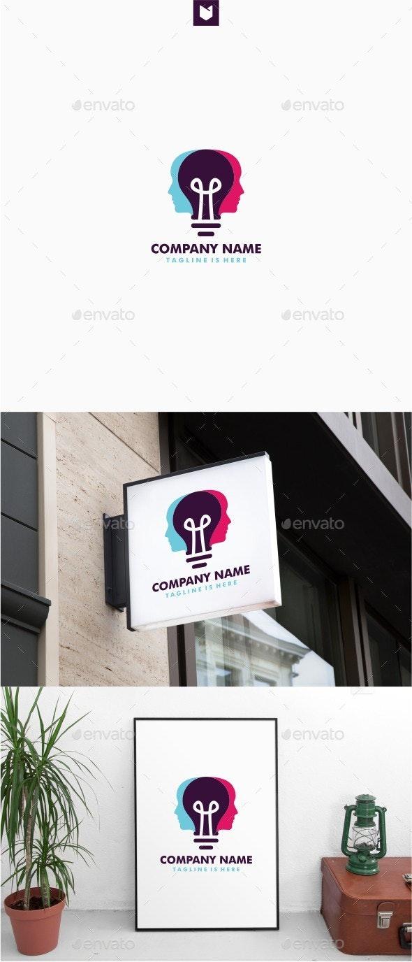 Human Head Bulb Lamp Logo - Humans Logo Templates