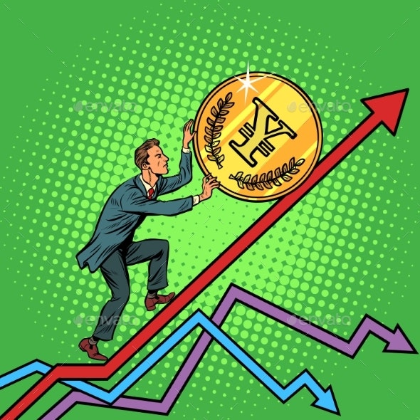 Businessman Roll a Yen Coin Up - Business Conceptual