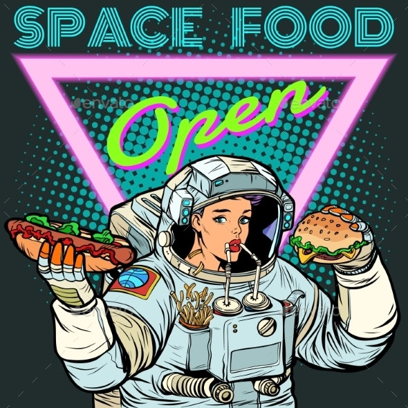 Space Food. Woman Astronaut Eats. Cola, Hot Dog - Food Objects