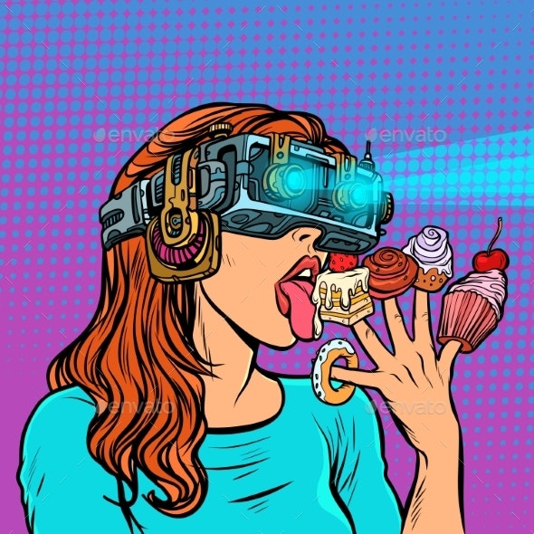 Woman in Virtual Reality Glasses Eating Sweets - Food Objects