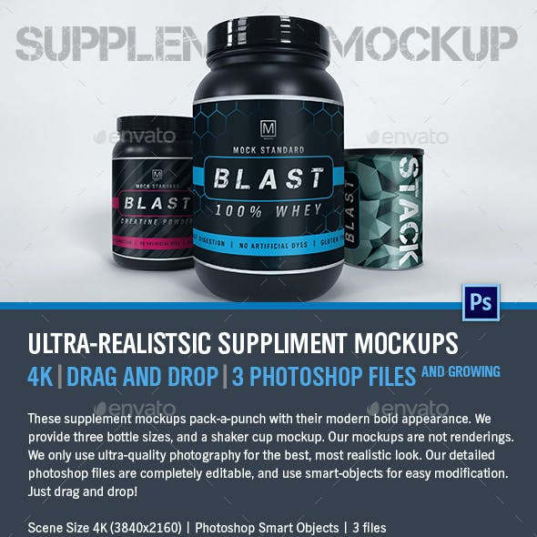 Supplement Mockups - Ultra-Realistic