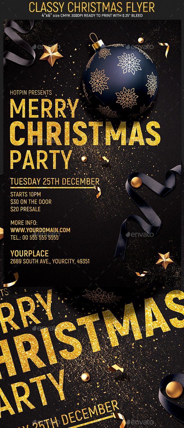 Christmas Party Flyer.Classy Christmas Party Flyer
