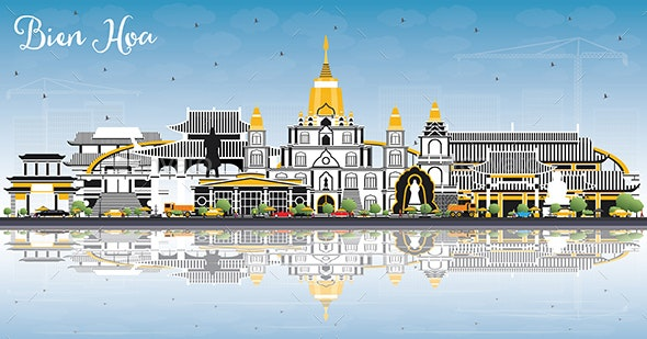 Bien Hoa Vietnam City Skyline with Gray Buildings - Buildings Objects