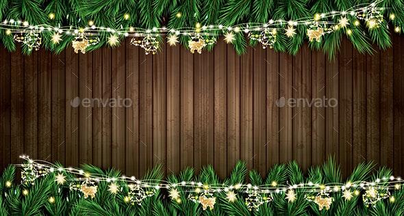 Fir Branch with Neon Lights and Golden Garland - Christmas Seasons/Holidays
