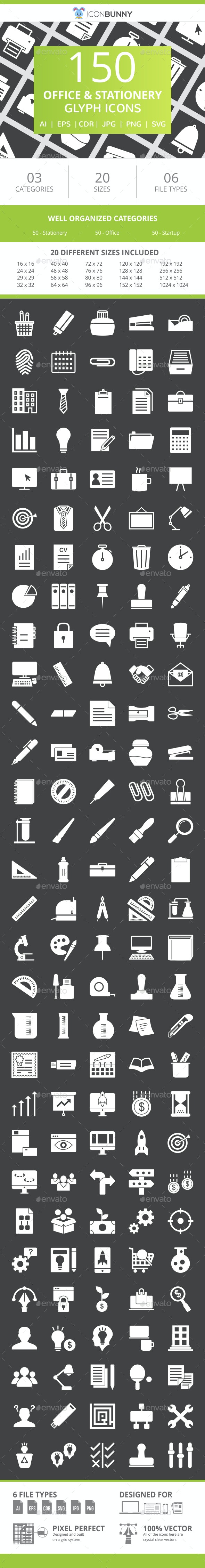 150 Office & Stationery Glyph Inverted Icons - Icons