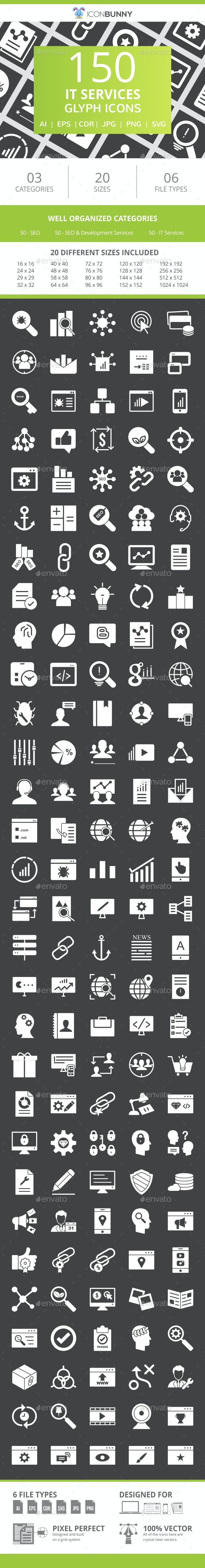 150 IT Services Glyph Inverted Icons - Icons
