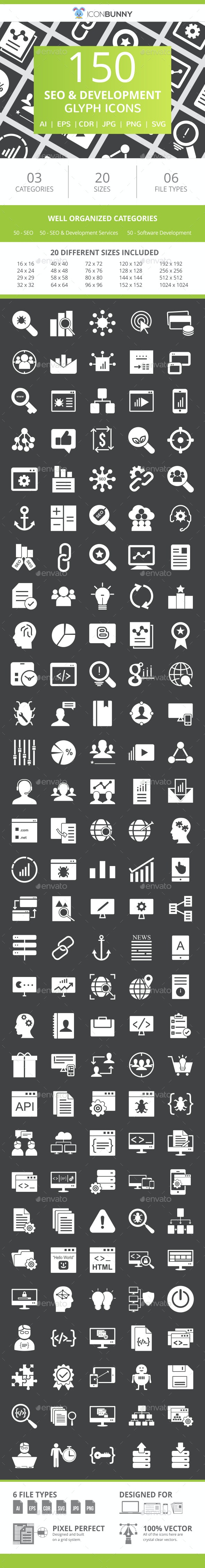 150 SEO & Development Glyph Inverted Icons - Icons