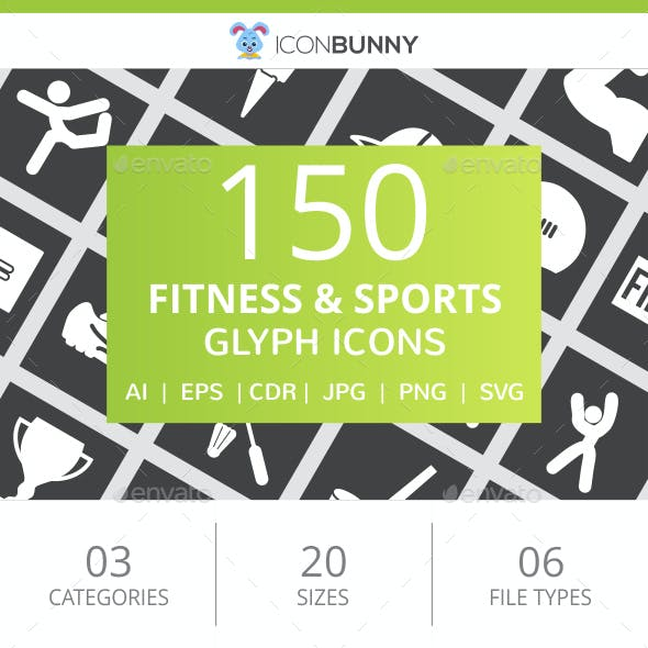 150 Fitness & Sports Glyph Inverted Icons