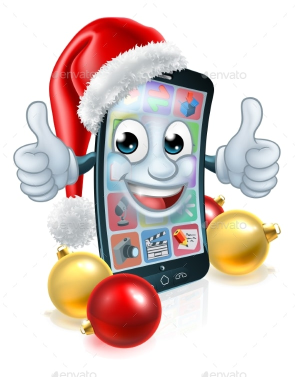 Cell Mobile Phone Christmas Mascot in Santa Hat - Christmas Seasons/Holidays