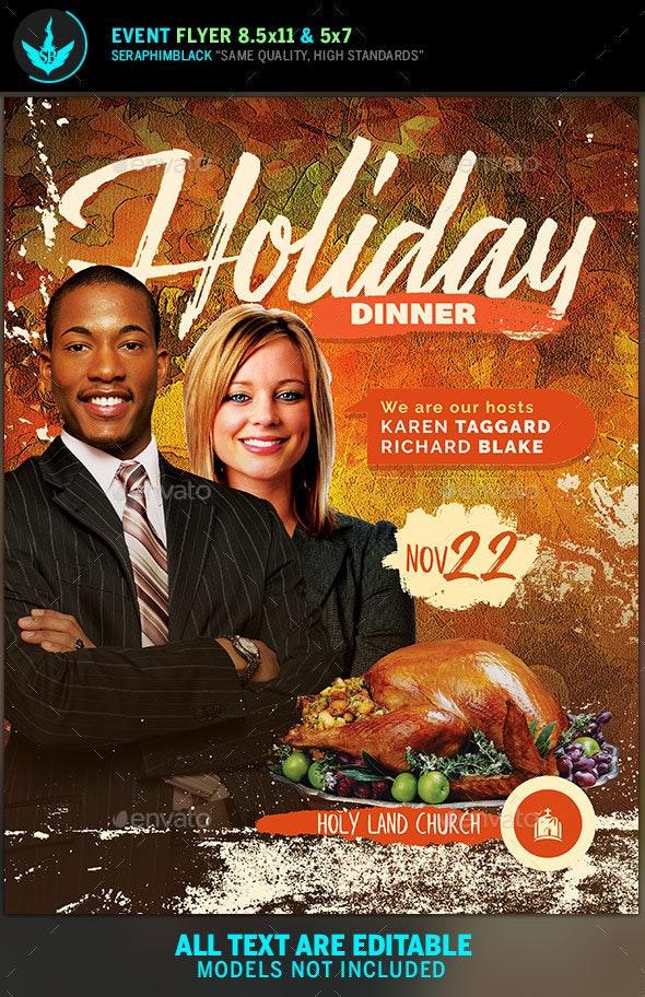 Thanksgiving Dinner Flyer Template - Flyers Print Templates
