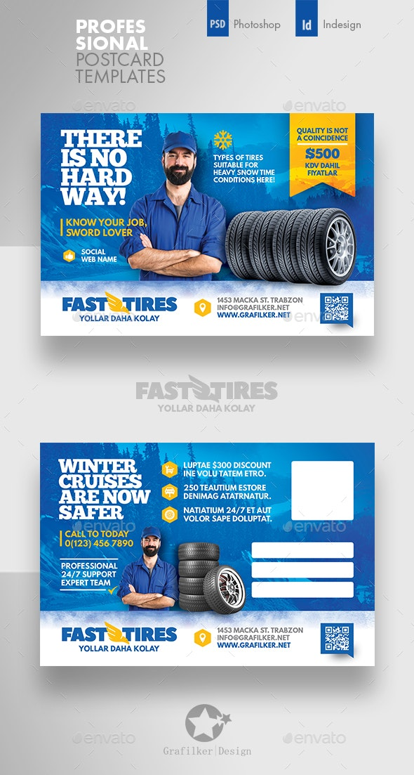 Auto Tires Postcard Templates - Cards & Invites Print Templates