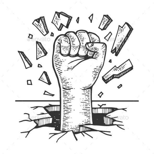 Human Fist Crash Wall Vector Illustration - Miscellaneous Vectors