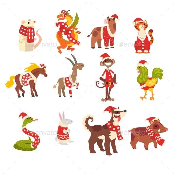 Symbols of New Year Set - Animals Characters