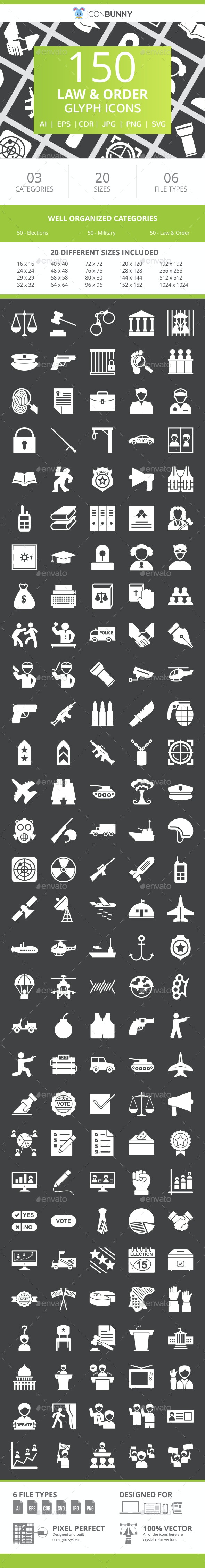 150 Law & Order Glyph Inverted Icons - Icons