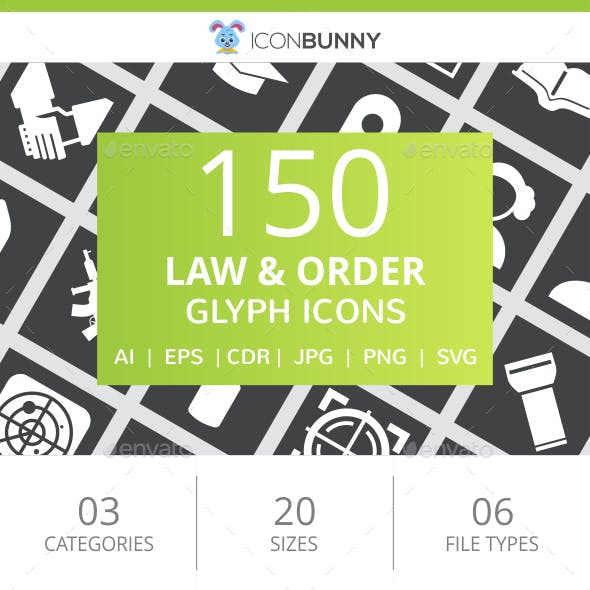 150 Law & Order Glyph Inverted Icons