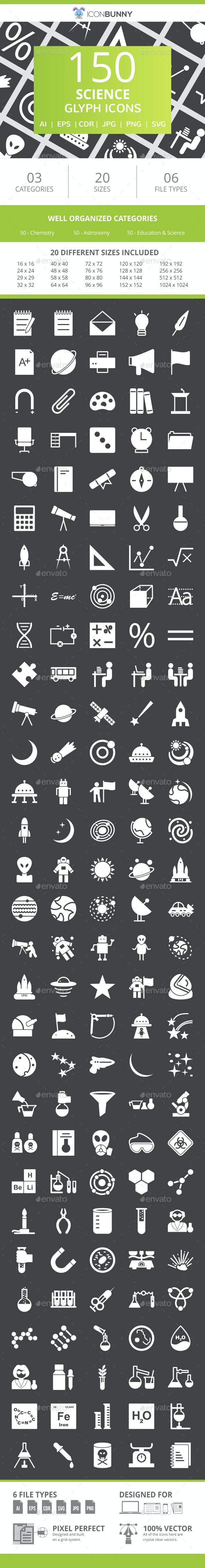 150 Science Glyph Inverted Icons - Icons