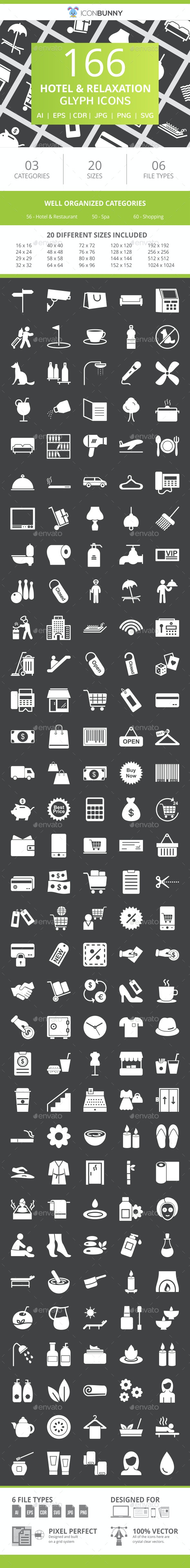 166 Hotel & Relaxation Glyph Inverted Icons - Icons