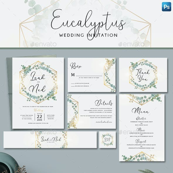 Geometric Eucalyptus Wedding Invitation