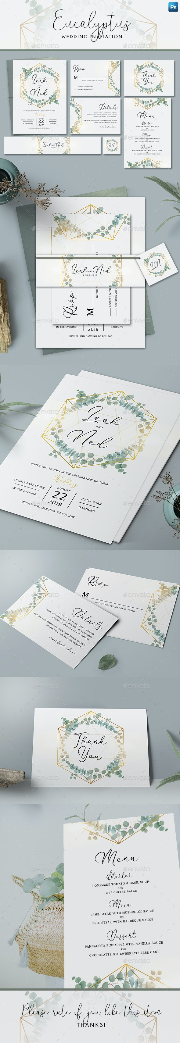 Geometric Eucalyptus Wedding Invitation - Weddings Cards & Invites