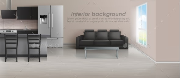Vector Interior Mockup of Studio Apartment - Backgrounds Decorative