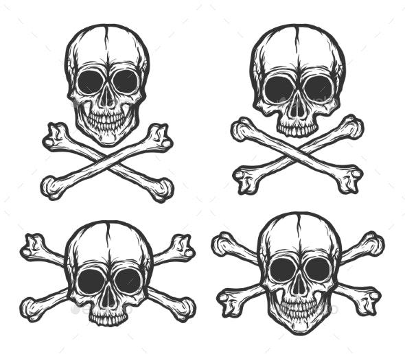 Human Skulls Vector Set - Tattoos Vectors