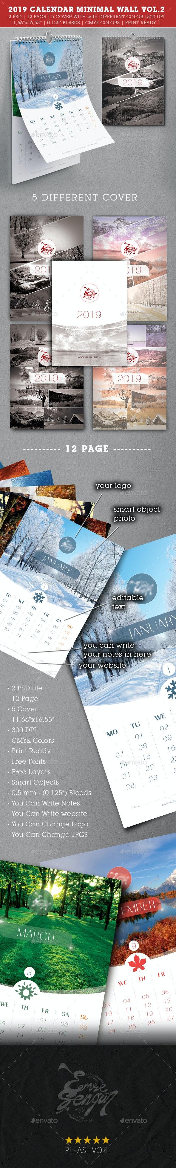 2019 Wall Calendar Minimal Vol.2 - Calendars Stationery
