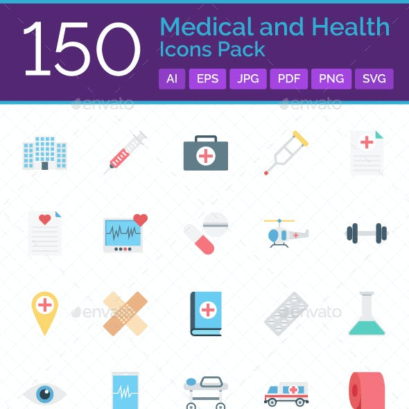 150 Medical and Health Icons Pack