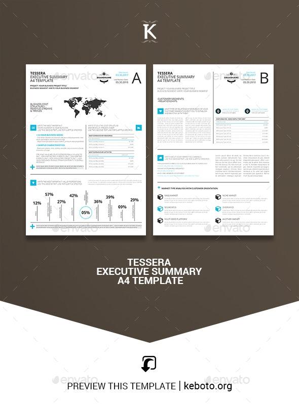 Tessera Executive Summary A4 Template - Corporate Brochures