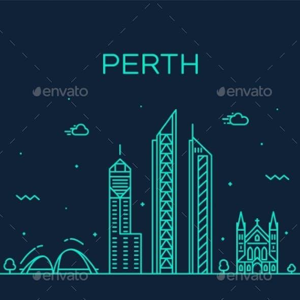 Perth City Skyline Western Australia Vector Linear