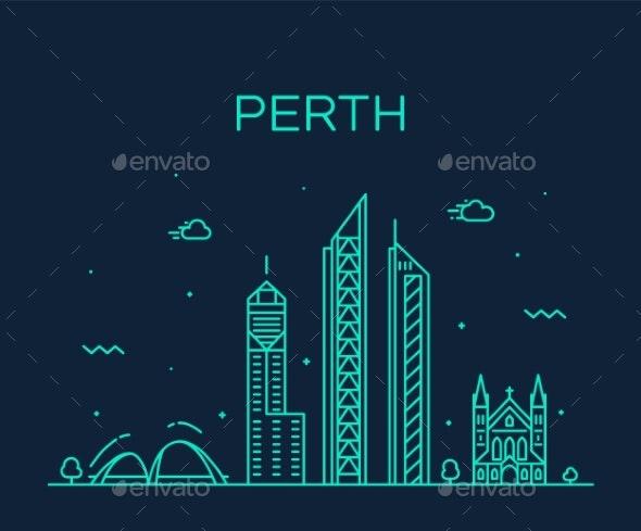 Perth City Skyline Western Australia Vector Linear - Buildings Objects
