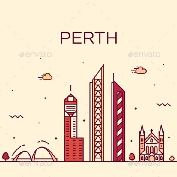Perth City Skyline Western Australia Vector Linear