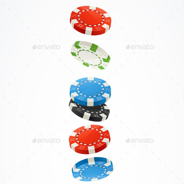 Realistic Detailed Poker Chips Stack Set