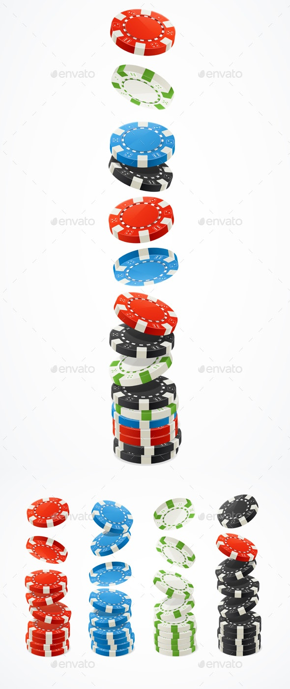 Realistic Detailed Poker Chips Stack Set - Miscellaneous Vectors