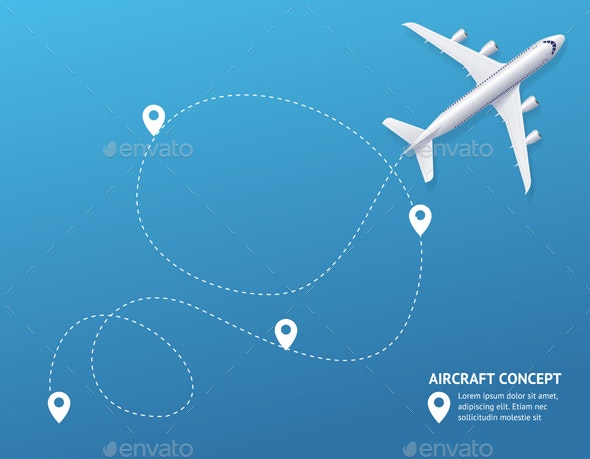 Plane and Track Aircraft Concept Banner Card - Travel Conceptual