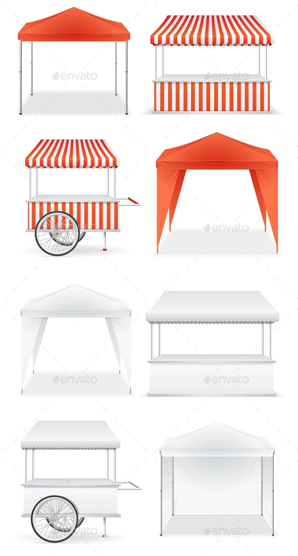 Realistic Detailed Market Stall Templates - Man-made Objects Objects