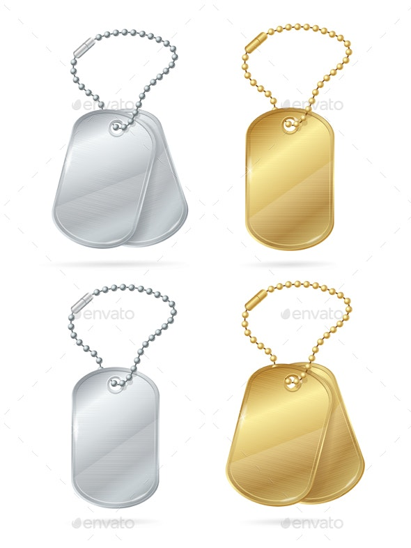 Realistic 3d Detailed Shiny Tags or Medallions Set - Man-made Objects Objects