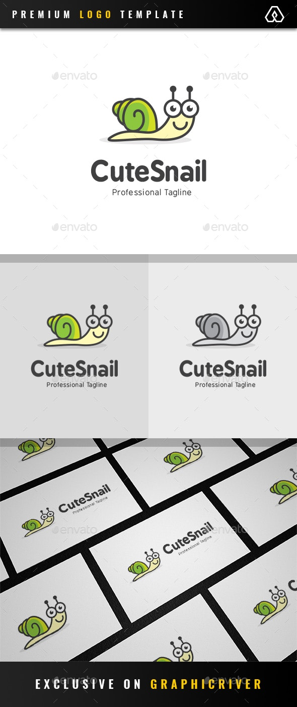 Cute Snail Logo - Animals Logo Templates