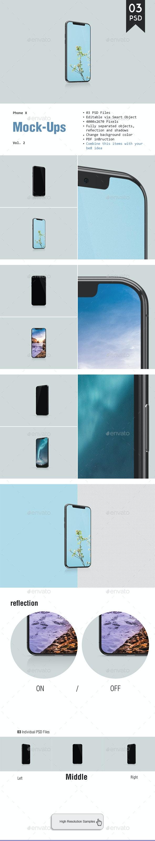 Phone X Mockup Vol. 2 - Mobile Displays