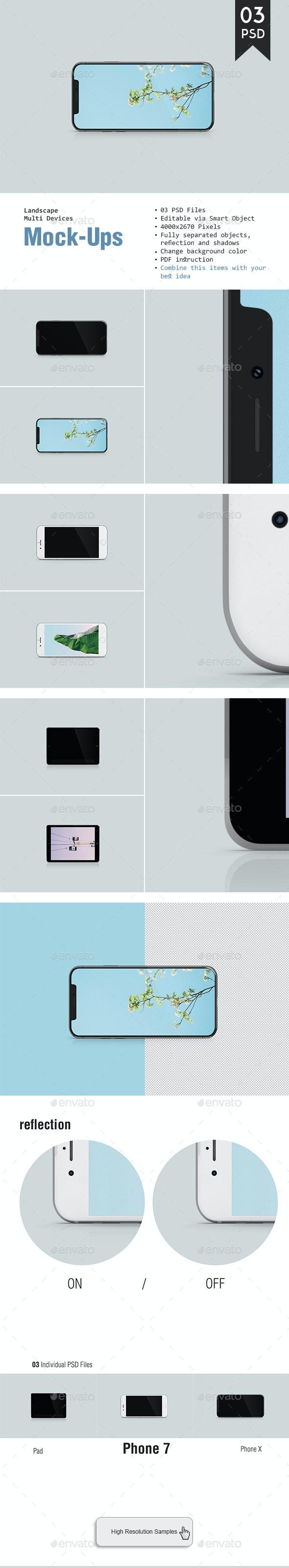 Landscape Multi Devices Mockup - Displays Product Mock-Ups