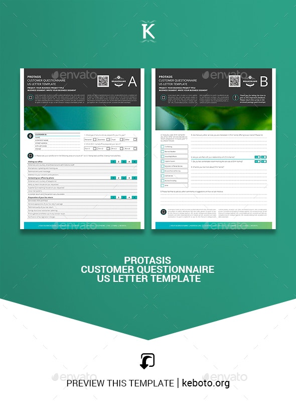 Protasis Customer Questionnaire US Letter Template - Miscellaneous Print Templates