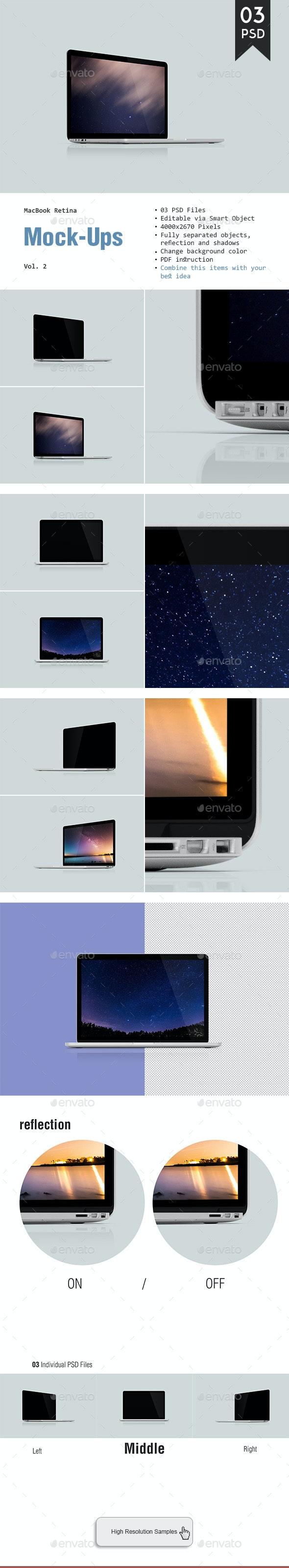 MacBook Retina Mockup - Laptop Displays
