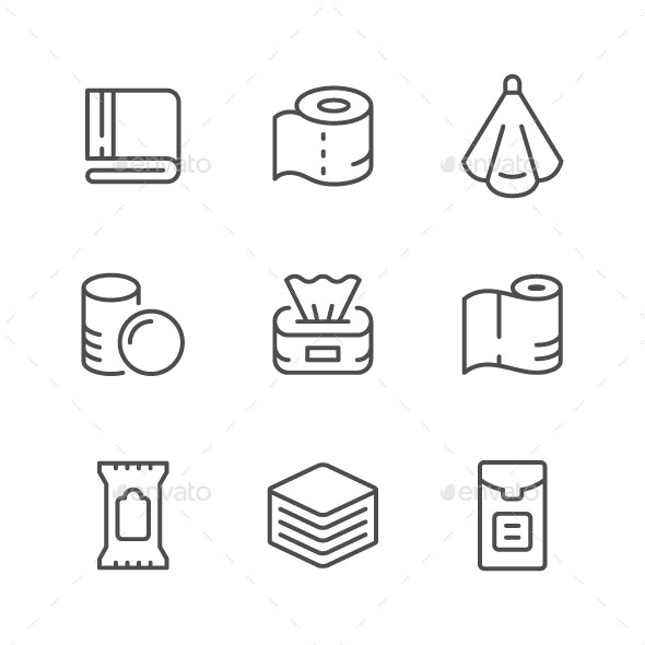 Set Line Icons of Towel and Napkin - Man-made objects Objects