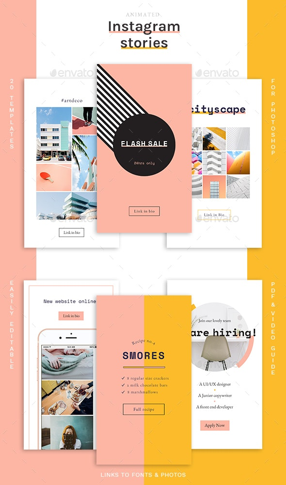 Animated Instagram Stories Templates - Social Media Web Elements